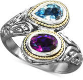Effy Balissima by Blue Topaz (3/4 ct. t.w.) and Amethyst (3/4 ct. t.w.) Bypass Ring in Sterling Silver and 18k Gold