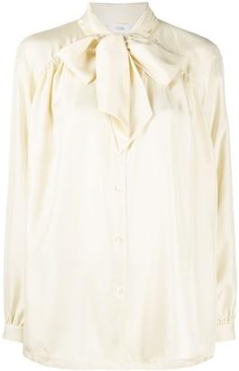 Closed Pussy-Bow Long-Sleeve Shirt