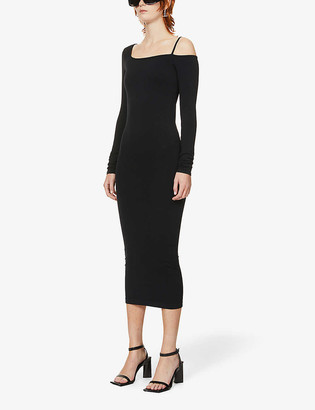 Helmut Lang Asymmetric stretch-jersey midi dress