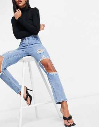 I SAW IT FIRST cut out knee mom jeans in blue