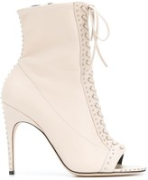 Sergio Rossi lace-up open toe boots