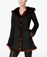 Jones New York Faux-Fur-Trim Faux-Suede Walker Coat