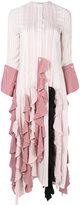 J.W.Anderson striped ruffle dress - women - Silk/Mother of Pearl - 8