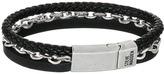 Steve Madden Stainless Steel Aged Leather Chain Bracelet Bracelet