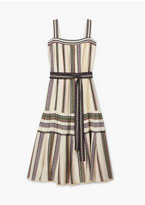 Derek Lam Lace Inset Provincal Striped Tank Dress With Pleated Hem