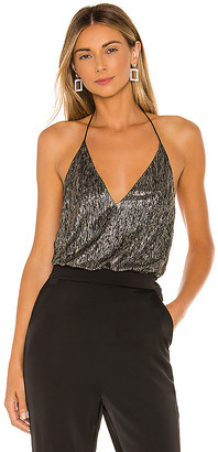 Alice + Olivia Fern Halter Cross Front Top