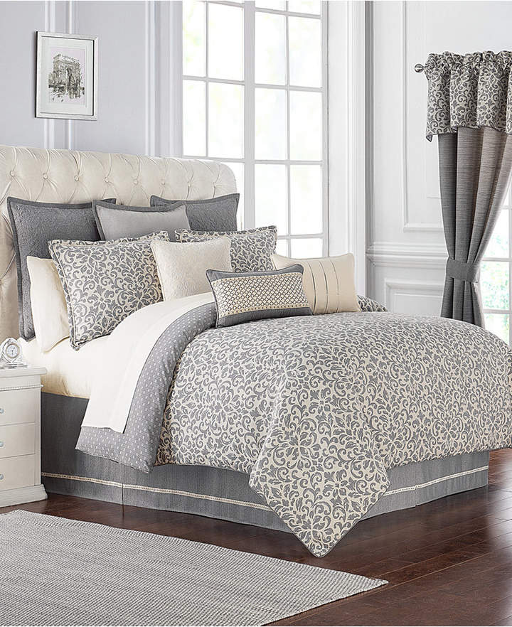 Waterford Charlize Reversible 3-Pc. Gray Queen Comforter Set