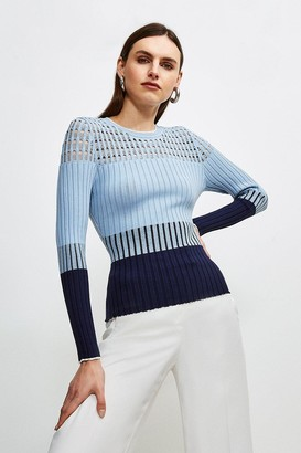 Karen Millen Pointelle detail Colour Block Knit Jumper