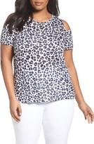 MICHAEL Michael Kors Plus Size Women's Lenus Print Cold Shoulder Tee
