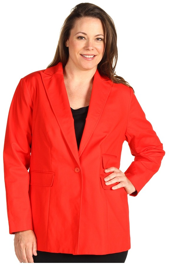 Kenneth Cole New York - Plus Structural Suit Jacket w/ Snake Print Lining (Red Coral) - Apparel