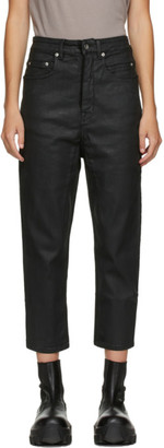 Rick Owens Black Cropped Collapse Jeans