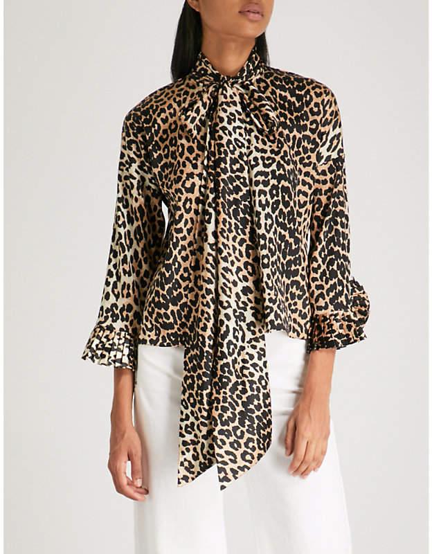 Ganni Calla stretch-silk blouse