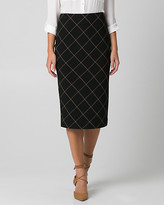Le Château Grid Check Print Double Weave Midi Skirt