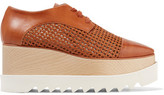 Stella McCartney Faux Woven And Smooth Leather Platform Brogues