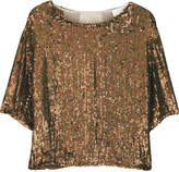 Cropped silk sequined top