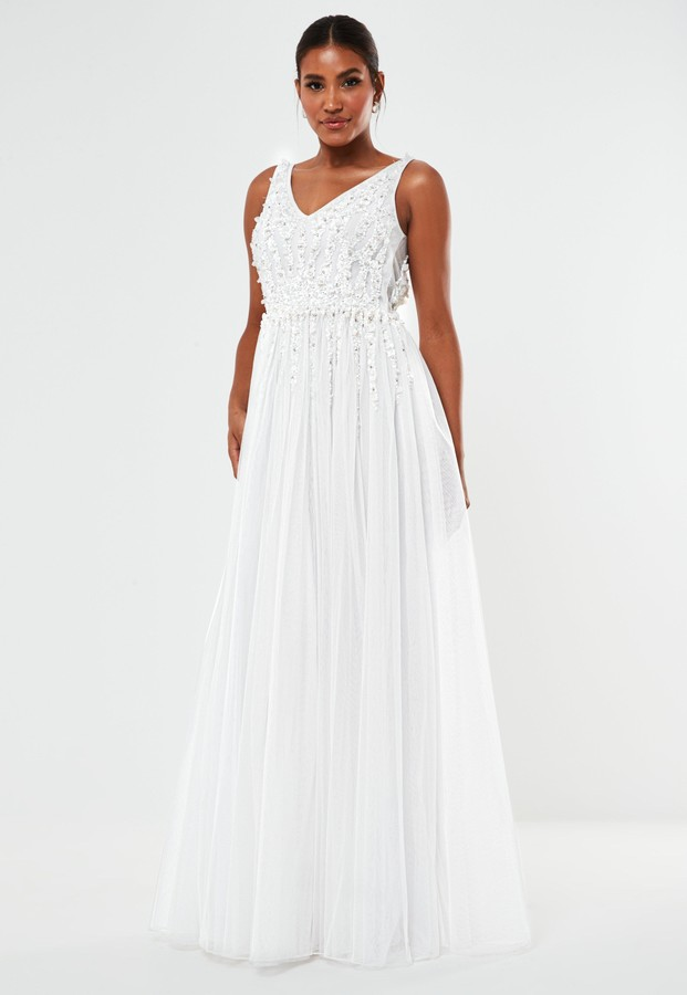 Missguided White Hand Beaded Plunge Wedding Dress