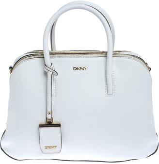 DKNY White Leather Double Zip Satchel