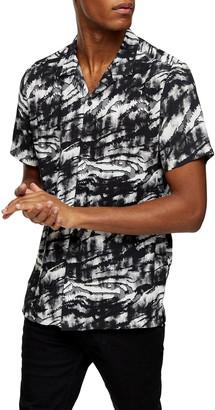 Topman Tiger Print Short Sleeve Button-Up Camp Shirt