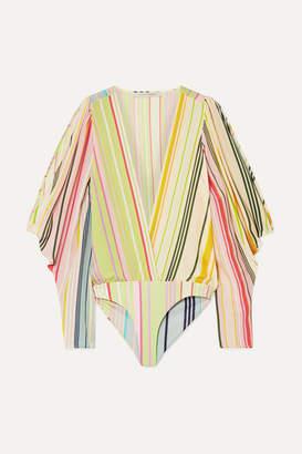 Silvia Tcherassi Caledonia Cold-shoulder Striped Silk Crepe De Chine And Stretch-jersey Bodysuit - Yellow