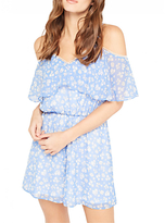 Miss Selfridge Petite Floral Print Playsuit, Pale Blue