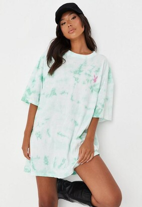 Missguided Playboy X Mint Tie Dye Oversized T Shirt Dress