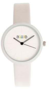 Crayo Unisex Blade White Leatherette Strap Watch 37mm