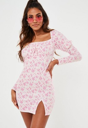 Missguided Pink Ditsy Floral Milkmaid Bodycon Dress