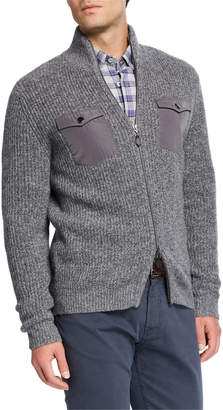 Neiman Marcus Men's Melange Cashmere Two-Way Zip Sweater