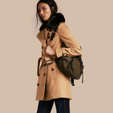 Burberry Wool Cashmere Trench Coat with Fur Collar , Size: 12, Brown