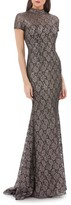 Carmen Marc Valvo Women's Mock Neck Lace Gown