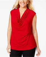 Kasper Plus Top, Cap-Sleeve Cowl-Neck Jersey