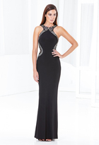 Terani Couture E3757 Beaded Halter Jersey Sheath Dress