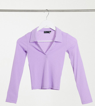 ASOS DESIGN Petite fitted polo with long sleeve in lilac