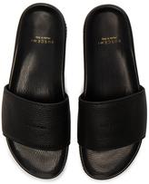 Buscemi Leather Classic Slide Sandals in Black.