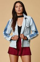 Honey Punch Stripe Sleeve Denim Jacket