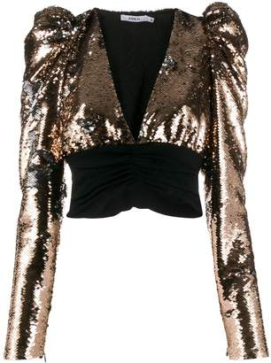 Amen cropped sequin blouse