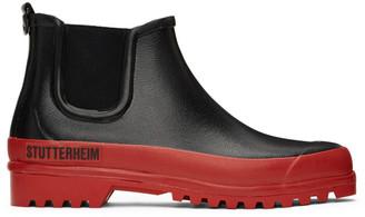 Stutterheim Black and Red Rainwalker Chelsea Boots