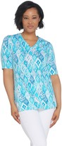 Denim & Co. Perfect Jersey Ikat Print V-Neck Elbow Sleeve Top