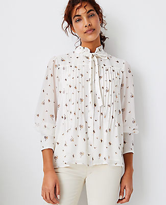 Ann Taylor Floral Pintucked Tie Neck Blouse