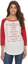 """Juniors' Elf """"What's Your Favorite Color"""" Baseball Graphic Tee"""