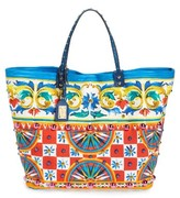 Dolce & Gabbana Carretto Greca Print Canvas Tote - Red