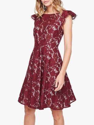Damsel in a Dress Rexanne Lace Dress, Burgundy/Nude