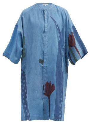 11.11 / Eleven Eleven - Floral-print Silk Kaftan - Blue Multi