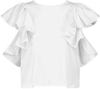 Alexander McQueen Ruffled cotton jersey T-shirt