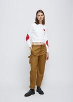 Courreges white/red bubble theme crop sweatshirt