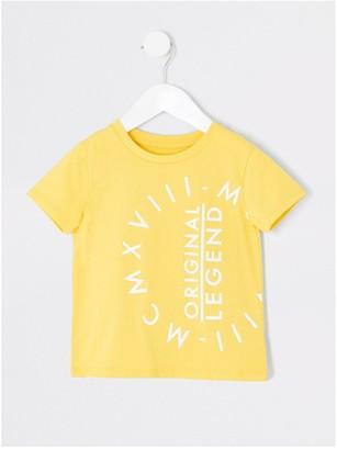River Island Mini Boys Legend Short SleeveT-Shirt- Yellow