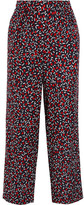 Vanessa Seward Acronyme Cropped Silk-jacquard Wide-leg Pants - Navy