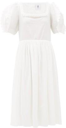 Horror Vacui Laura Scalloped Cotton Midi Dress - White