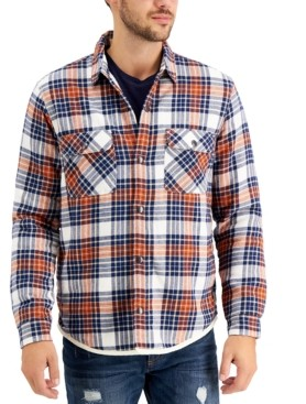 Sun + Stone Men's Catskill Fleece-Lined Plaid Shirt Jacket, Created for Macy's