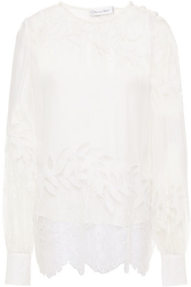 Oscar de la Renta Chantilly Lace-paneled Embroidered Silk Crepe De Chine Blouse